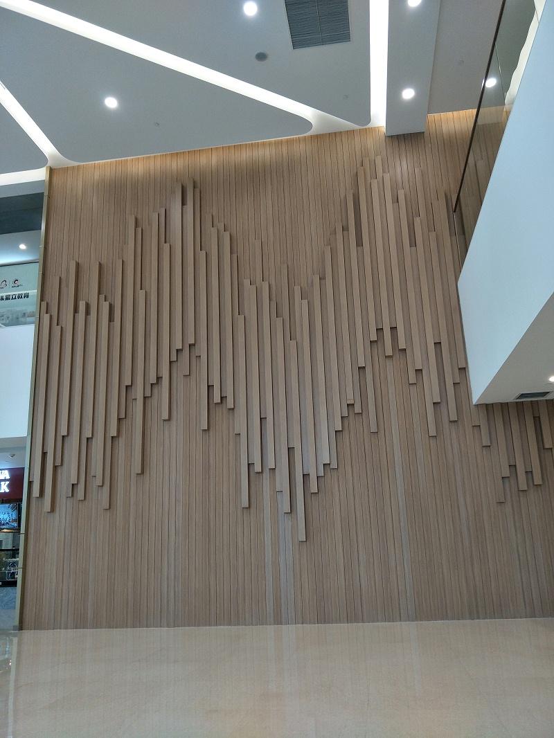 木纹铝方管不仅做吊顶棒,做墙面也很赞-海上明珠影视城